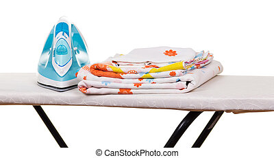Steam iron, ironing board and bed linen isolated on white. -...