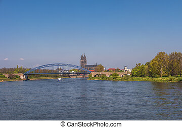 View on Magdeburg city and Elbe in Spring, Magdeburg,...