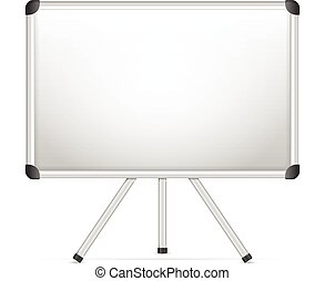 Whiteboard with tripod on a white background