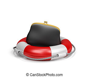 Purse on lifebuoy, the concept of insurance. 3d image. White...