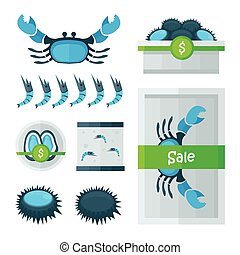 fresh Seafood infographic blue, green color