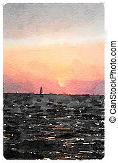 Digital watercolour painting of a sailboat sailing into the sunset in Calais
