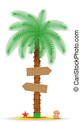 palm tree with a sign illustration