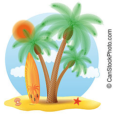 surfboard standing under a palm tree illustration isolated...