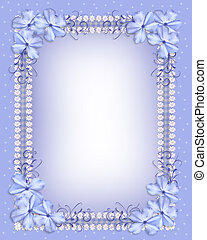 Blue flowers border gingham ribbons - Image and illustration...