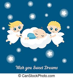 Angels with stars and baby sleeping