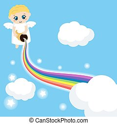 Cute angel in the sky with rainbow