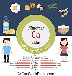 Minerals Ca infographic - Minerals Ca and vector set of...