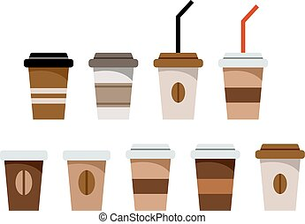 Set of paper glasses for coffee