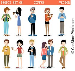 Set of modern people with paper glasses of coffee. vector