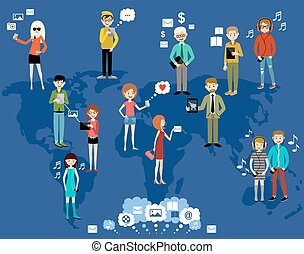 People use the Internet and gadgets. Social network.