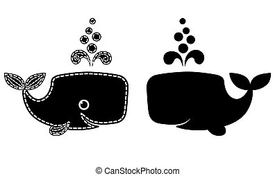 Silhouette of cute patchwork sperm whale - Silhouette of...