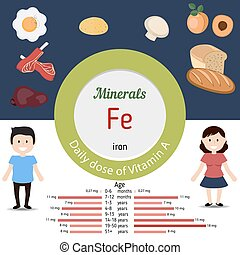 Minerals Fe infographic - Minerals Fe and vector set of...
