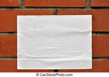 A sheet of paper on the wall