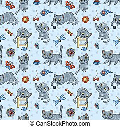 Seamless pattern with the happy playing grey cats