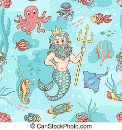 Seamless pattern with Neptune Vector children background