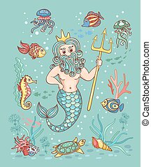 Card with Neptune Children vector cartoon illustration