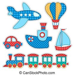 Set of stickers with patchwork transport. Vector...