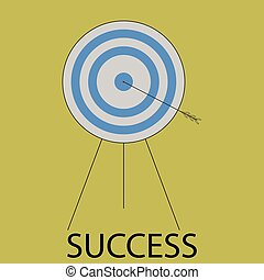 Succes icon flat design. Target and arrow, bulls eye, goal...