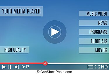 Video player for web. Media Player Interface. Minimalistic...