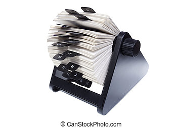 rolodex on white background - rotary card file for storing...