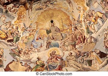 Kopuła, katedra, święty, Maria, Del, Fiore, Florencja