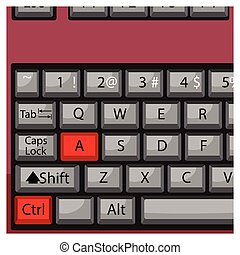 Combination keyboard ctrl A. Computer combination key,...