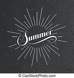 Summer retro label with light rays - vector typographic...