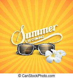 Summer retro label with sunglasses - vector typographic...