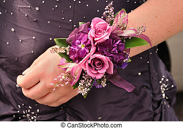 Wrist Corsage - Purple and Pink Flowers Roses on Wrist...