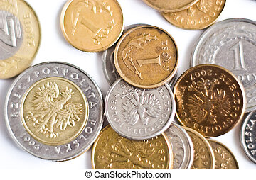 coin - Close-up of an uncirculated polish curency coins on...