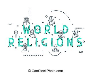 Modern vector illustration concepts religious people...