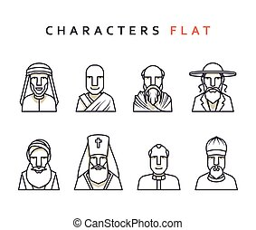 Isolated characters in flat style. - Set of religious...