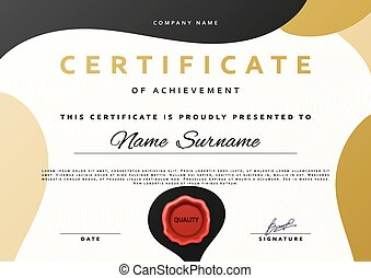 Ready design certificate for promotion with red sealing wax