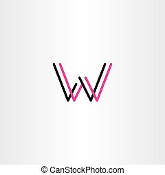 black magenta logo w letter w icon vector text