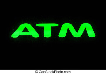 ATM Neon Sign - ATM Neon Green Sign against dark background