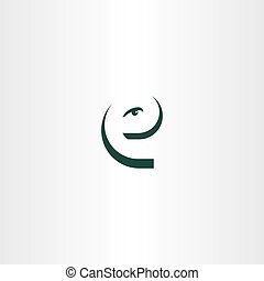 funny letter e eye face icon logo vector