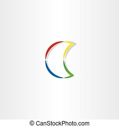 half moon colorful icon vector symbol design