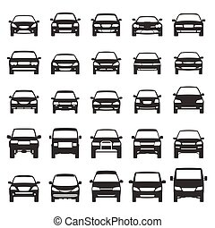 car icons flat vector set design element suv, van, bus,...