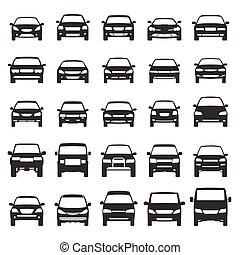 car icons flat vector set design element suv, van, bus,...
