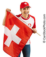 Excited Swiss sports fan