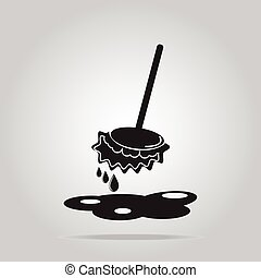 Mop icon sign, wet floor cleaner concept