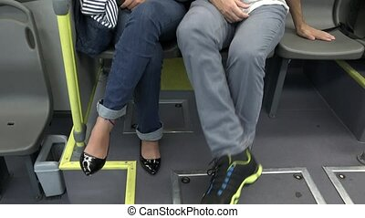 People On Shuttle Bus Or Subway