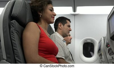 Female Passenger On Airplane