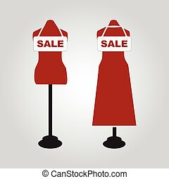 Mannequin and sale tag icon illustration
