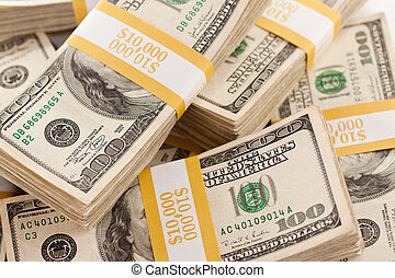 pilhas, um, cem, dólar, contas