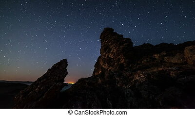 Time lapse of moving stars over the mountain peak. From...