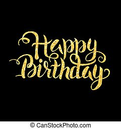 Gold Happy Birthday Lettering over Black