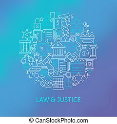 Thin Line Law and Justice Icons Set Circle Concept Vector...