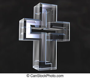 Cross symbol in transparent glass (3d) - Cross symbol in...